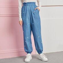 Frill Waist Slant Pocket Floral Embroidery Pants