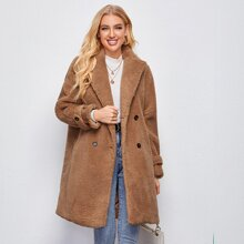 Notched Collar Double Breasted Teddy Coat
