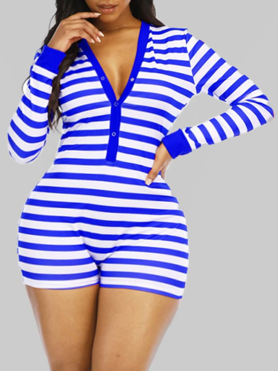 LW Lovely Sexy V Neck Striped Blue Plus Size One-piece Romper