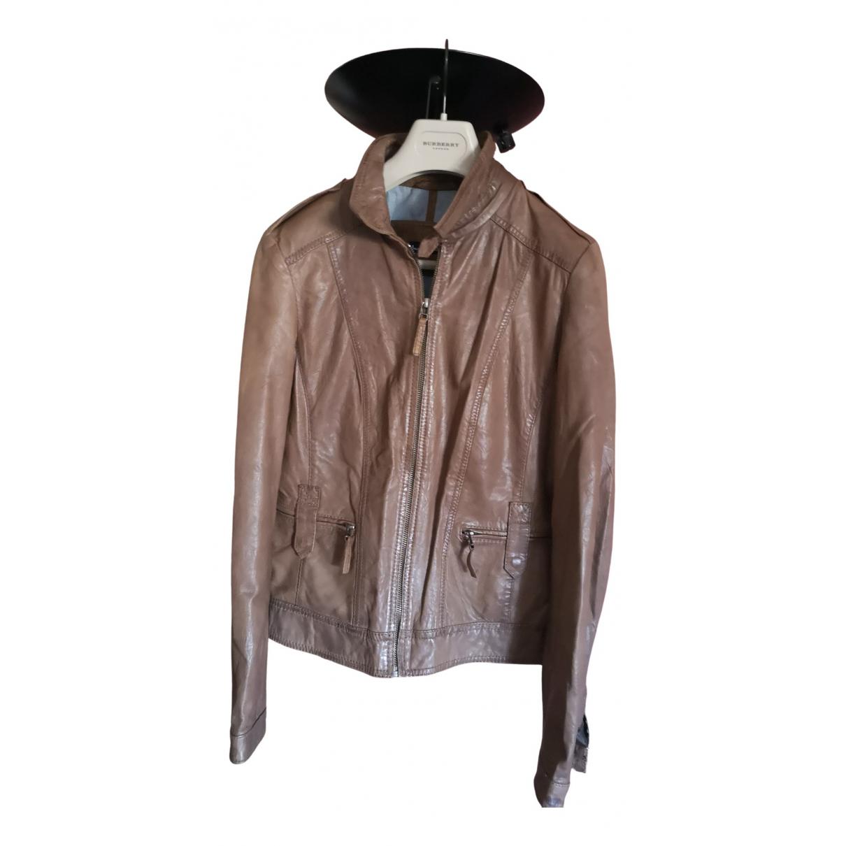 Massimo Dutti - Blouson   pour femme en cuir - marron