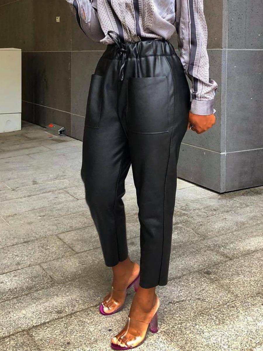 LW lovely Stylish Lace-up Black Pants
