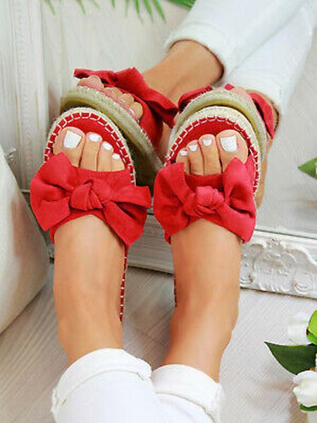 Milanoo Women\'s Slippers Bow PU Micro Suede Women\'s Summer Shoes