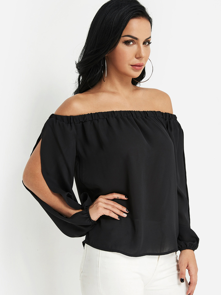 Yoins Black Off The Shoulder Cut Out Sleeves Blouse