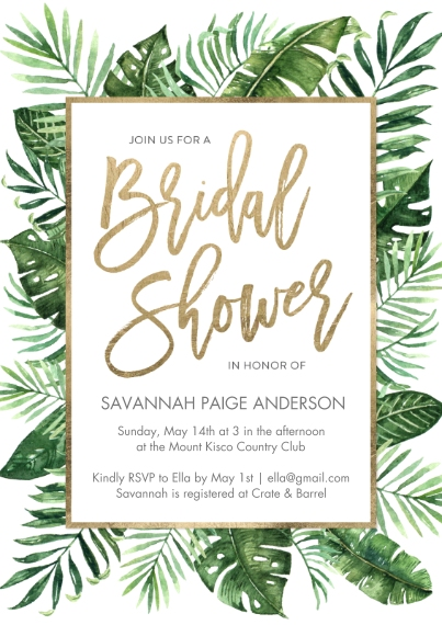 Wedding Shower Invitations 5x7 Cards, Premium Cardstock 120lb with Rounded Corners, Card & Stationery -Bridal Shower Foliage
