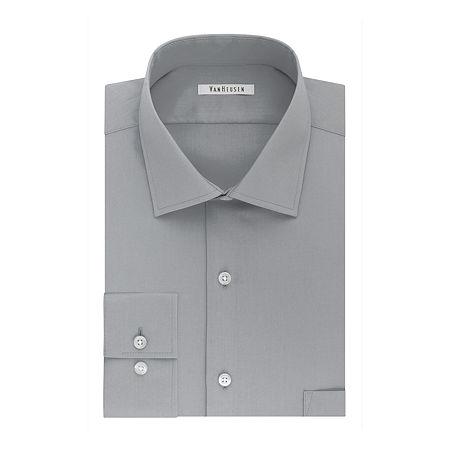 Van Heusen Flex Collar Dress Long Sleeve Shirt, 16.5 32-33, Gray
