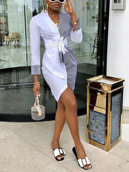Yoins White Patchwork Striped Bowknot V-neck Long Sleeves Dress