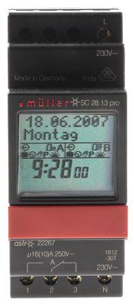 Muller 1 Channel Digital DIN Rail Time Switch Measures Minutes, 230 V ac