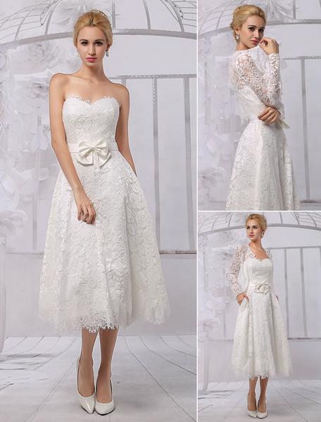 Milanoo A-Line Tea Length Lace Wedding Dress With Long Sleeve Bolero/Wrap