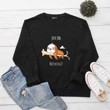 Sweatshirt mit Buchstaben & Karikatur Grafik