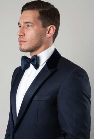 Men's Navy 1Button Velvet Trim Peak Slim Fit Poly Rayon Fashion Jacket