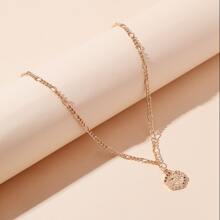 Letter Embossed Geometric Charm Necklace