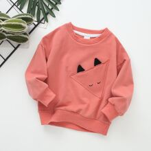 Toddler Girls Patched Front Sweatshirt