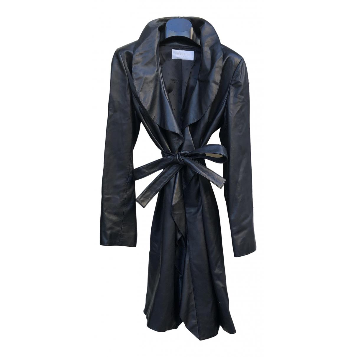 Valentino Garavani \N Black Leather Leather jacket for Women 44 IT