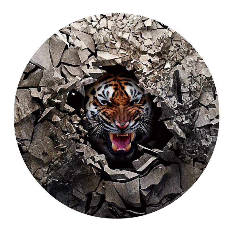 3D Broken Stones and Tiger Printed PVC Water Absorption and Nonslip Doormat