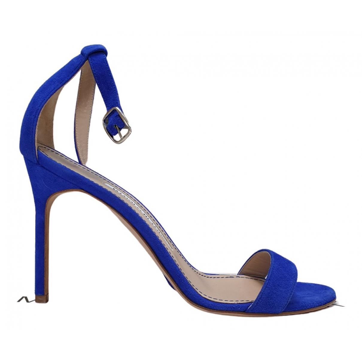 Manolo Blahnik \N Sandalen in  Blau Veloursleder