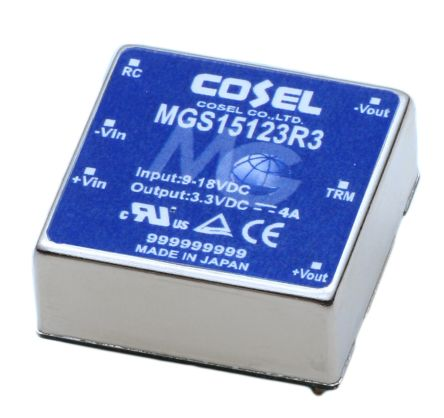 Cosel 13.2W Isolated DC-DC Converter Through Hole, Voltage in 9 → 18 V dc, Voltage out 3.3V dc
