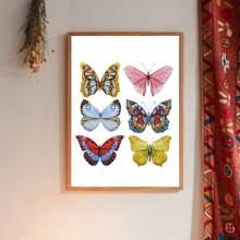 Pintura de pared con mariposa sin marco