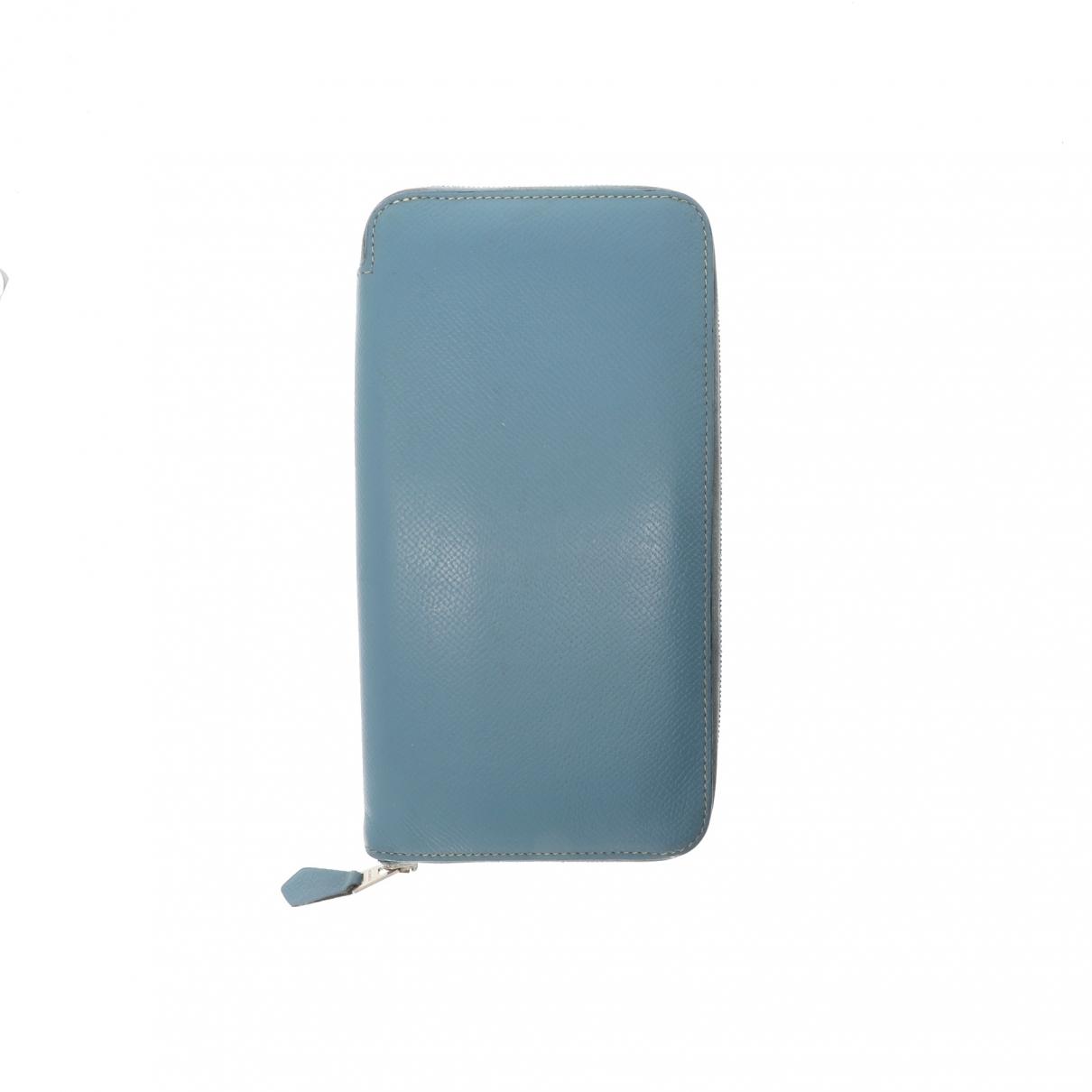 Hermes Azap Portemonnaie in  Blau Leder
