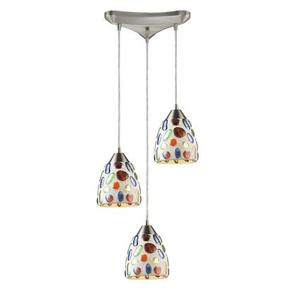 542-3 3 Light Genstone Pendant with Satin Nickel