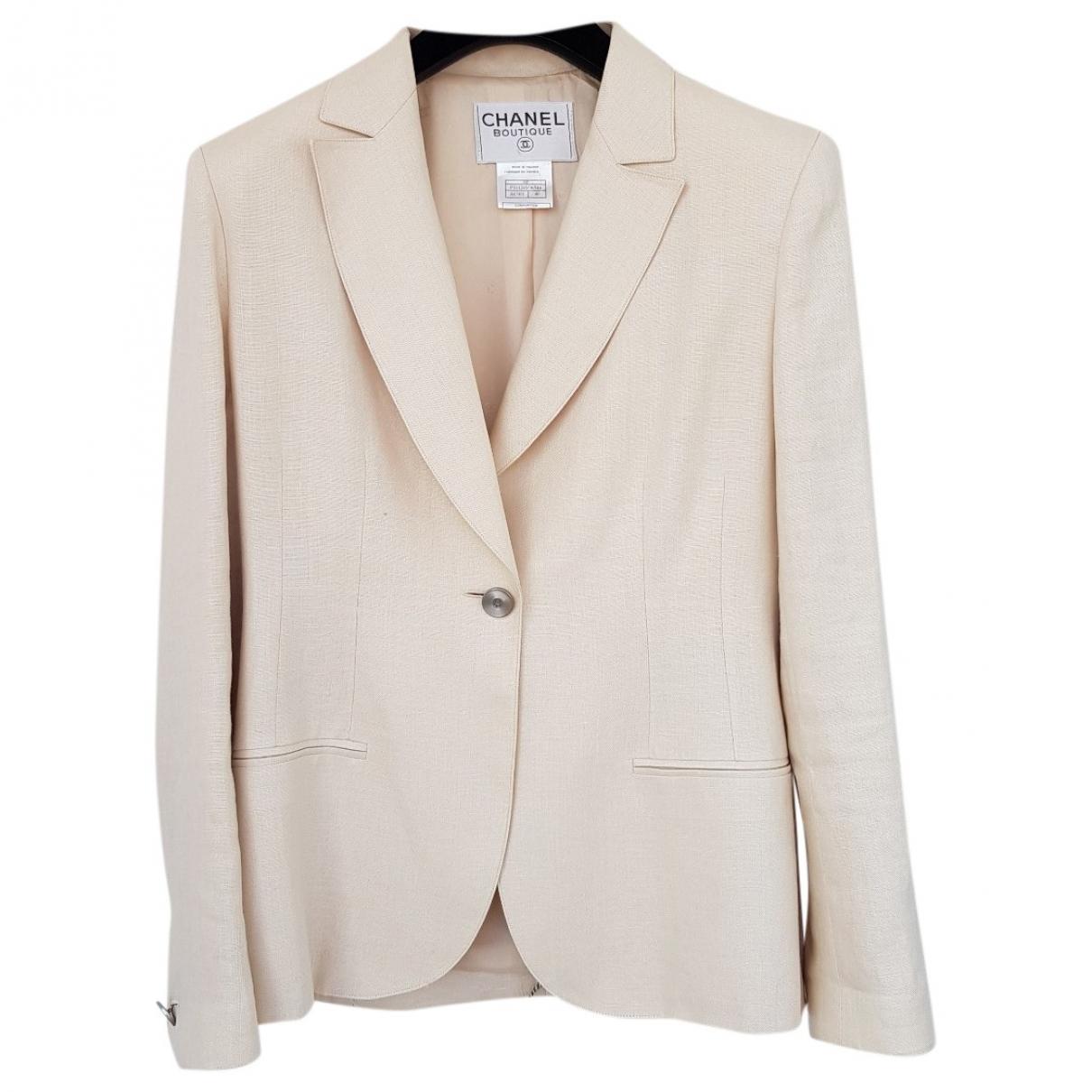 Chanel - Veste   pour femme en lin - ecru