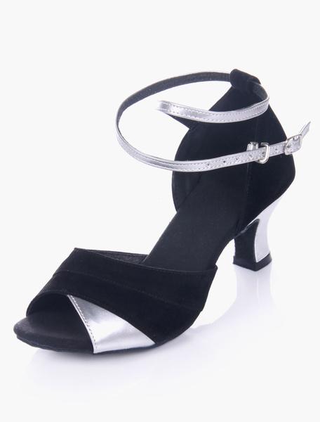 Milanoo Zapatos de baile 2020 Bicolor negro Peep ante Micro suela suave con estilo de salon superior zapatos