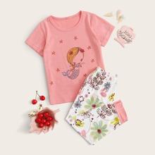 Conjunto de pijama de niñitas con estampado de dibujos animados