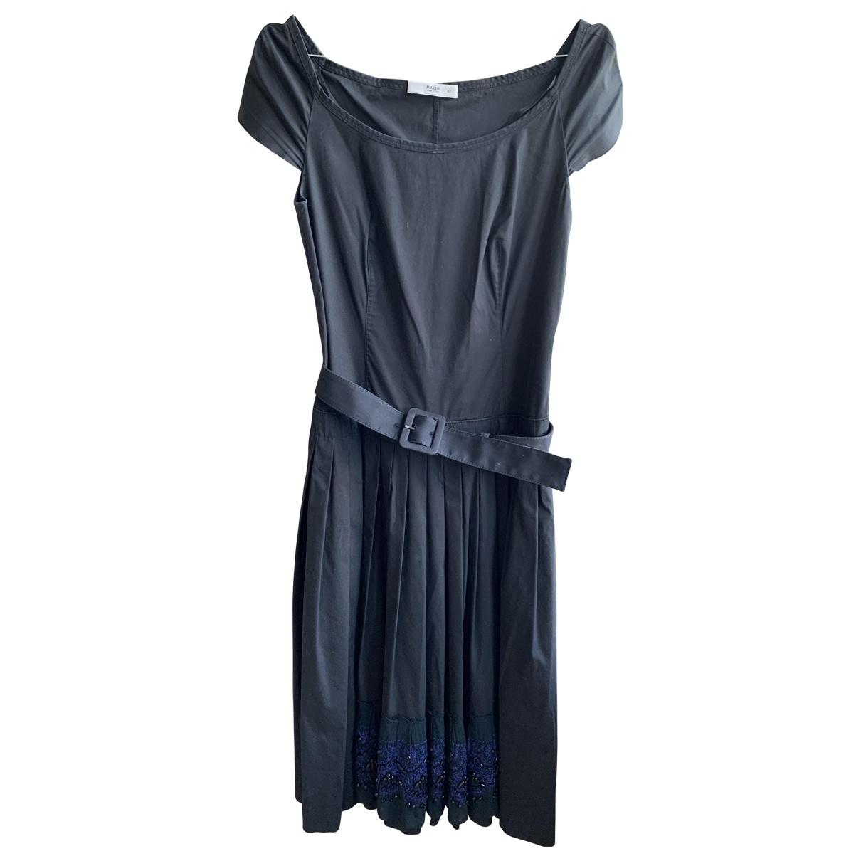Prada \N Kleid in  Marine Baumwolle
