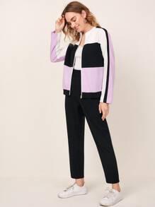 Zipper Placket Colorblock Top & Pants Set
