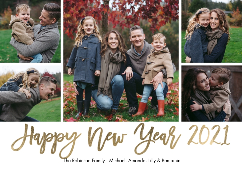 New Years Photo Cards 5x7 Cards, Standard Cardstock 85lb, Card & Stationery -New Year 2021 Handlettered by Tumbalina