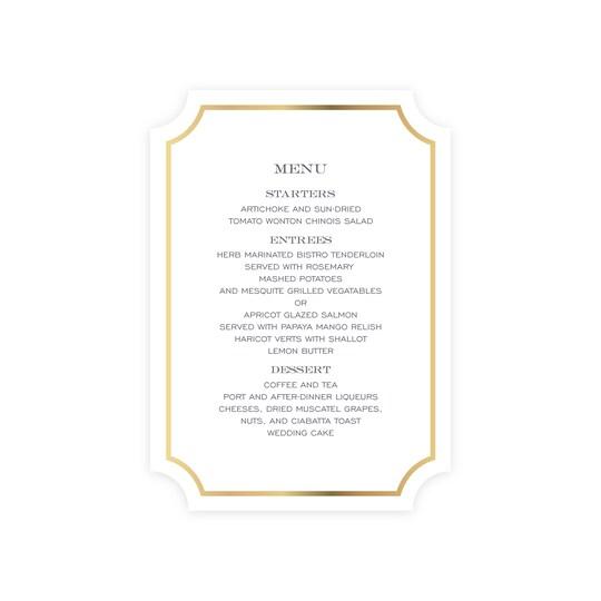20 Pack of Martha Stewart Skylands Monogram Flat Foil Personalized Wedding Menu Card By Gartner Studios in Gold | 5