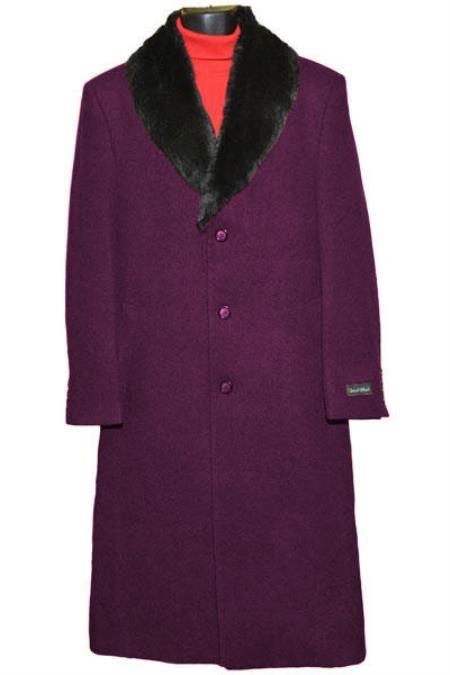 Men's 3 Button Burgundy Single Breasted Wool Full Length Overcoat