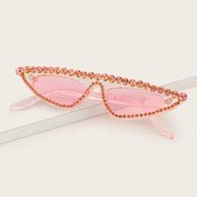 Katzenaugen-Sonnenbrille mit Strass