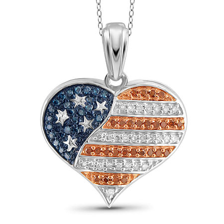 1/4 CT. T.W. White and Color-Enhanced Blue and Red Diamond Flag Heart Pendant, One Size , No Color Family