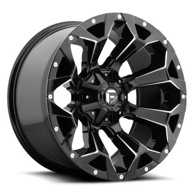 MHT Fuel Offroad D576 Assault Wheel, 20x10 with 5 on 4.5 / 5 on 5 Bolt Pattern - Gloss Black Milled - D57620002647