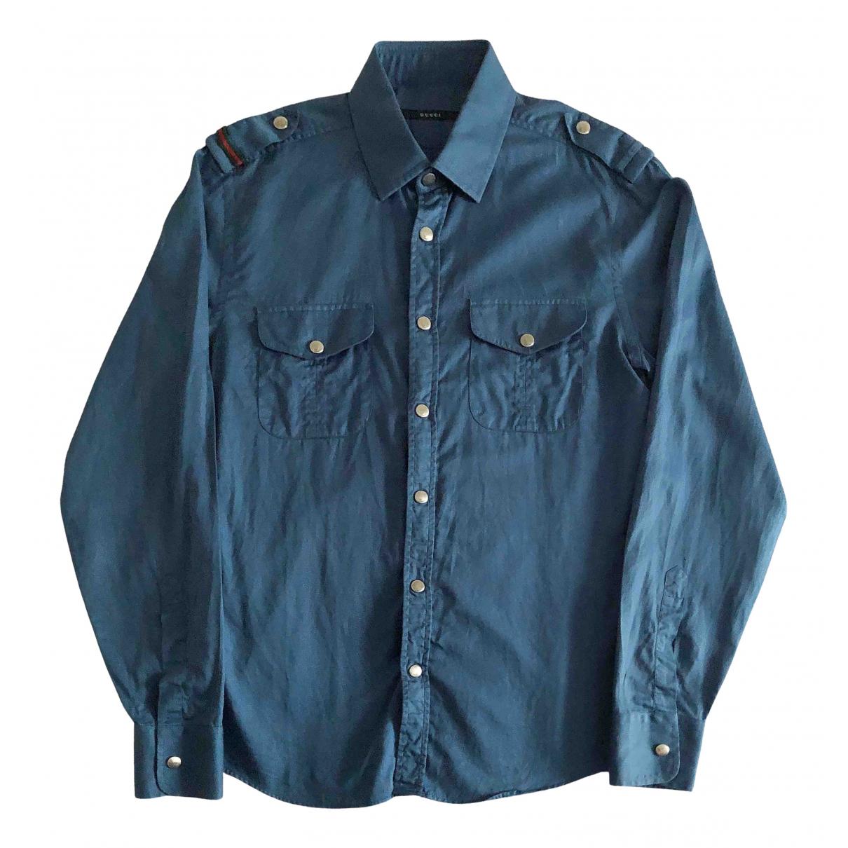 Gucci N Blue Cotton Shirts for Men M International