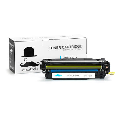 Compatible HP 507A CE401A Cyan Toner Cartridge - Moustache@ - 1/Pack