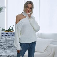 Strick Pullover mit asymmetrischem Kragen