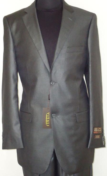 Mens Designer 2Button Shiny Charcoal Gray Sharkskin Suit