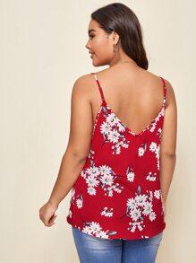 Cami Top mit doppelten V-Kragen und Blumen Muster
