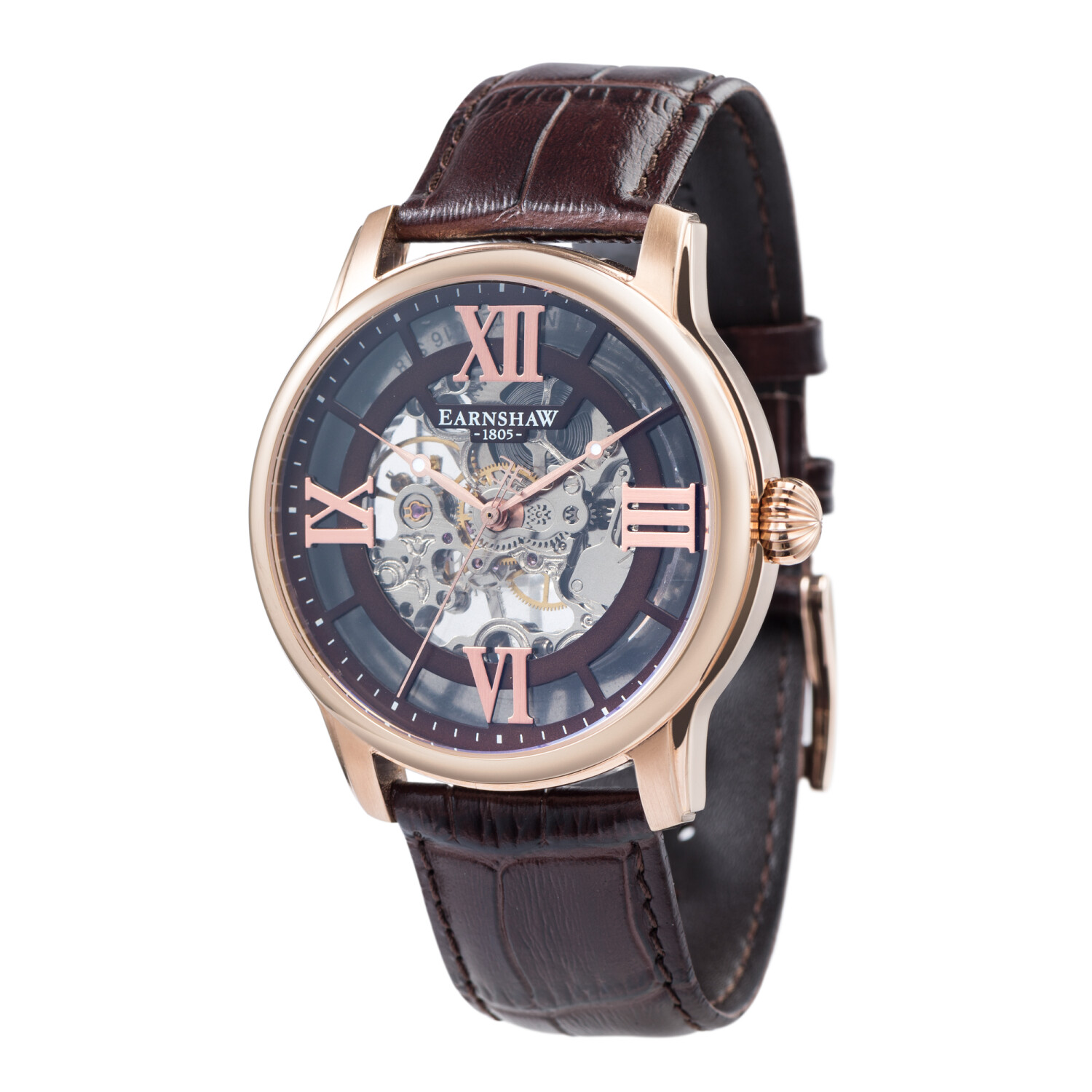 Thomas Earnshaw Men's Longitude Skeleton Mechanical ES-8062-02 Rose-Gold Leather Automatic Self Wind Fashion Watch