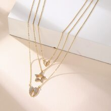 Rhinestone Heart & Star Layered Necklace