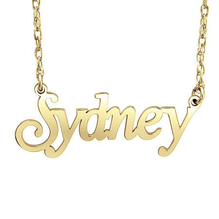 Personalized Womens 24K Gold Over Silver Pendant Necklace, One Size , No Color Family