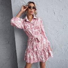 Hemdkleid mit Paisley Muster und Rueschenbesatz