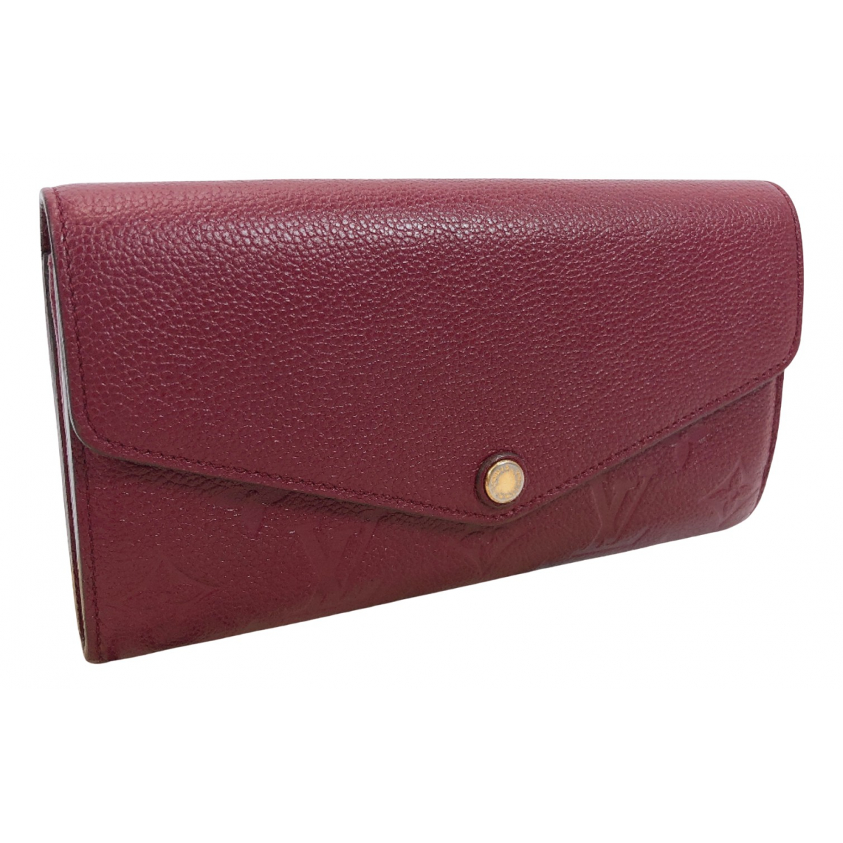 Louis Vuitton - Portefeuille Sarah pour femme en cuir - bordeaux