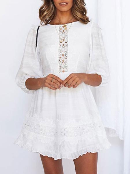 Milanoo White Summer Dress Lace Insert Cotton Backless Beach Dress