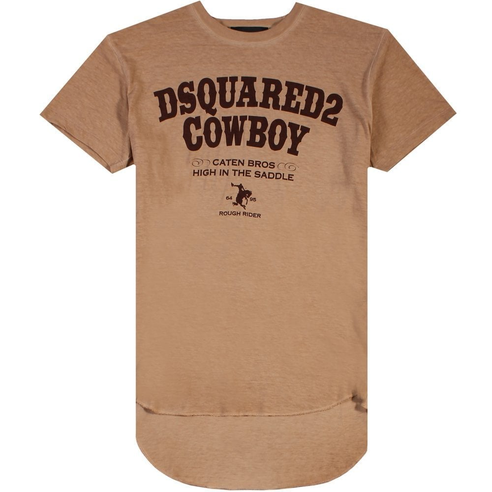 Dsquared2 Cowboy T-Shirt Brown Colour: BROWN, Size: EXTRA LARGE