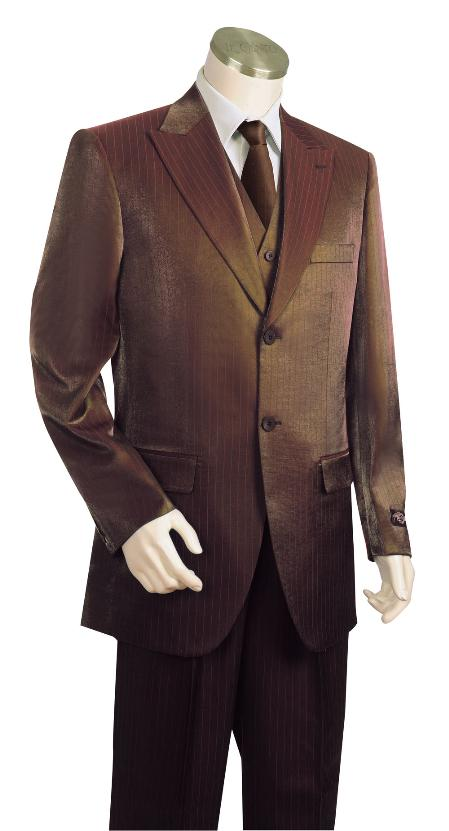 3 Piece 2 Button Brown Vested Zoot Suit Mens
