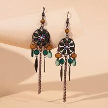 Ohrringe mit bohmischen Blumen Dekor