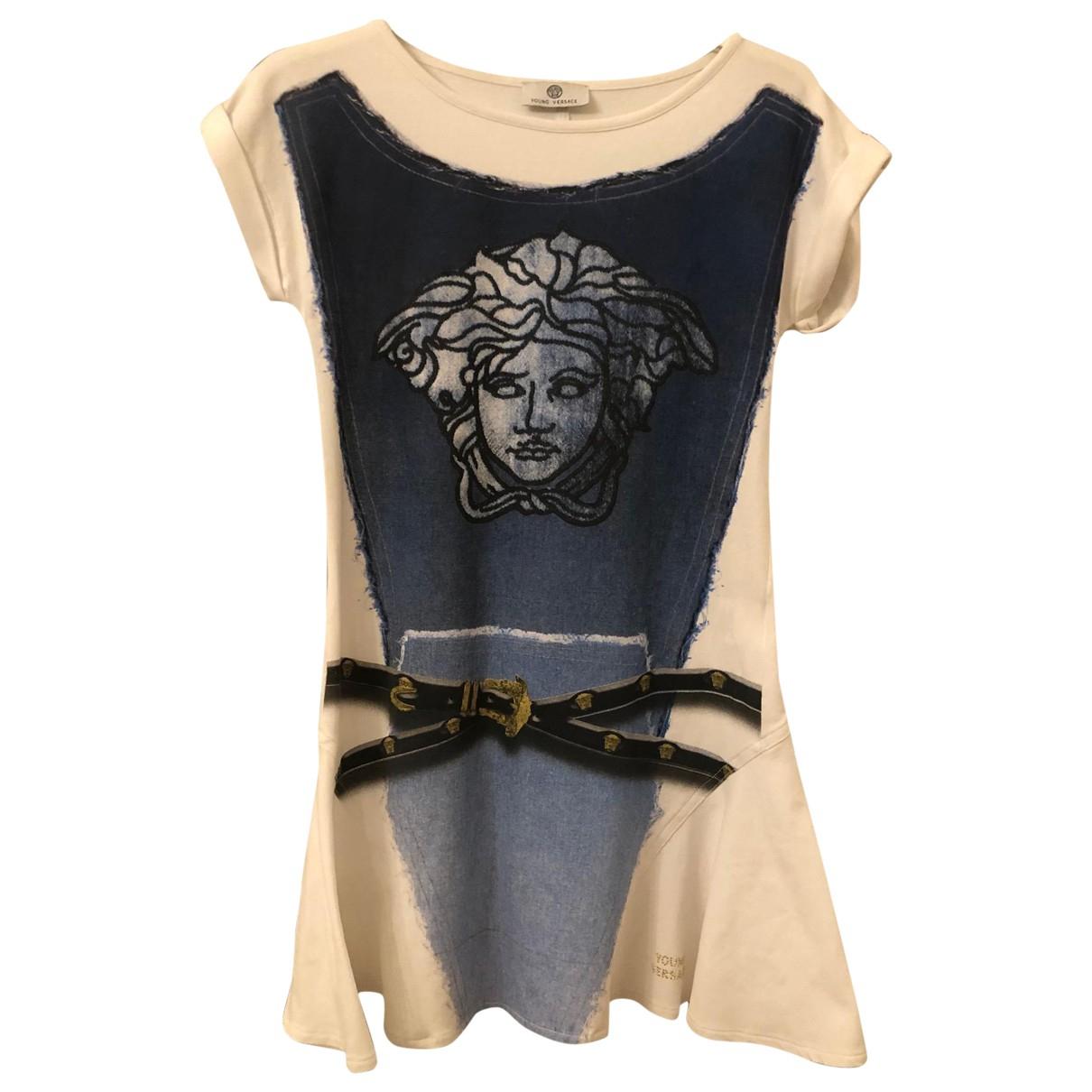 Versace \N Kleid in  Blau Baumwolle