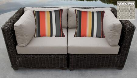 Venice Collection VENICE-02a-ASH 2-Piece Patio Wicker Loveseat with 2x Corner Chairs - Wheat and Ash